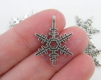 8  Snowflake charms antique silver tone SF8