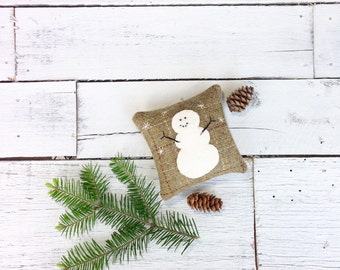 Snowman Pillow, Rustic Pillow, Snowman Decor, Rustic Home Decor, Ski Lodge Decor, Snowman, Winter Decor, Little Pillow, Balsam Pillow