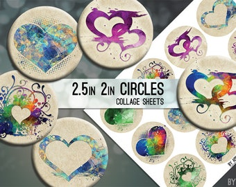 """Hearts Everyday or Valentine's Day 2.5"""" and 2in Circle Digital Collage Sheet Download Printable Images for Gift Tags Cards Scrapbooking JPG"""