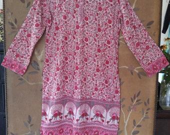 80s Indian gauze hippie boho pink tunic style dress