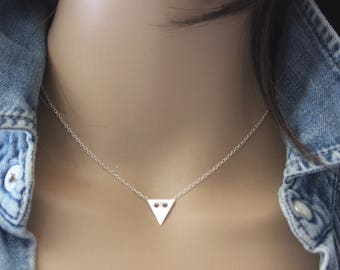 Minimalist triangle medal Silver Necklace - minimalist choker - geometric choker - fine silver necklace - Triangle necklace - silver choker