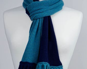 Teal and Navy 2 colour Lambswool Scarf