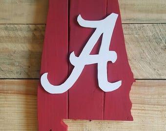 Alabama. Alabama State. Roll Tide. Crimson. Rustic Decor.