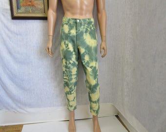 """80s 36"""" x 28"""" Pagalli Tie Dye Cords Wide Wale Corduroy Narrow Leg Jeans PANTS Yellow Green"""