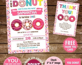 INSTANT DOWNLOAD / edit yourself now / Birthday / invite/ Invitation / Donut / Party / doughnut / girl / pink / teal / sweet /BDonut5
