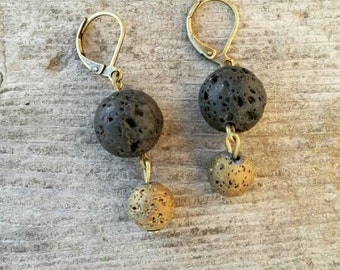 Gold and black lava stone essential oil diffuser earrings aromatherapy Young Living doTerra nickel free Hypoallergenic gift for her