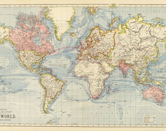 World map printable digital download.Vintage World Map. Old World Map - Instant Digital Download.PRINTABLE map.High resolution world map.