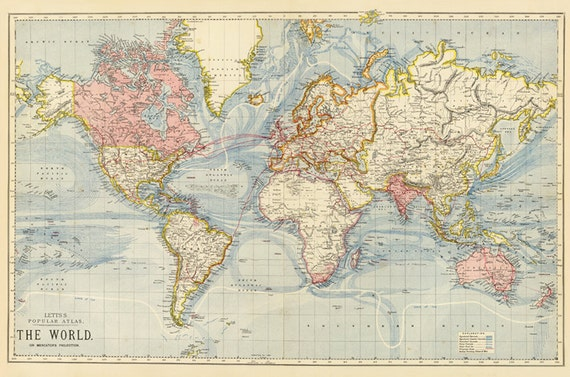 world map printable digital downloadvintage world map old