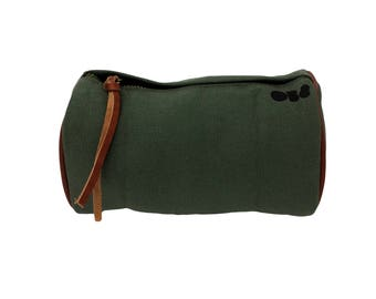 Bicycle Bag, Canvas And Leather Bike Panniers, Handlebar Or Saddle Pouch, Khaki Green