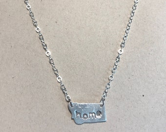 Home State Necklace in Fine Silver on Sterling Silver Chain
