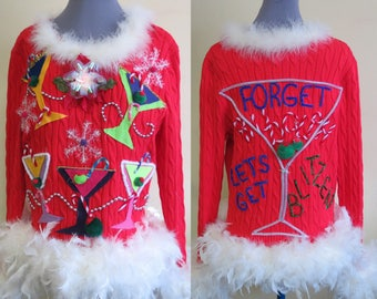 Martini Glasses Olives Party! Fun Ugly Christmas Sweater Foo-Foo Feather Boa Glam womens Fun! size XL Light up Sweater, Bright Colorful