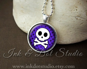 Cute Skull And Crossbone Necklace, Purple Skull Pendant, Skull and Stars Necklace, Goth Gothic Emo - Choose Your Color!