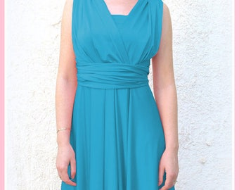 Convertible/Infinity Dress in  aqua green color Bridesmaid  dress with matching tube top
