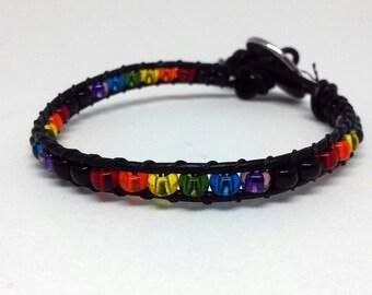 Rainbow Pride Leather Wrap Bracelet - Pride Jewelry - Rainbow Jewelry - Gay Pride - Beaded Bracelet - Stackable Bracelet - Everyday Bracelet