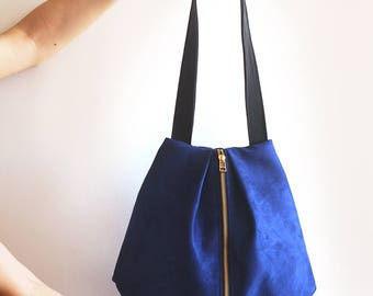 ROME tote, Blue shoulder bag - Everyday Bag / Vegan leather bag - Blue Tote bag with Zipper / Fabric tote bag - Blue bag