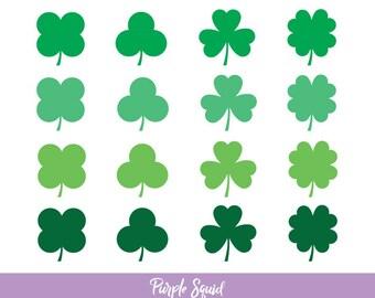 Shamrock Digital Clipart (St Patricks Clipart, Irish Clipart, Clover Clipart, Clipart Pattern, Commercial Use)