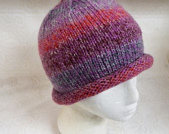 Hand Knitted Rolled Brim Beanie Style Adult or Teen Hat  Med to Large size