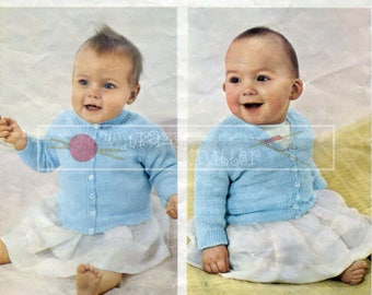 Baby Cardigans 6-12months 20-21in 3ply Patons 9432 Vintage Knitting Pattern PDF instant download