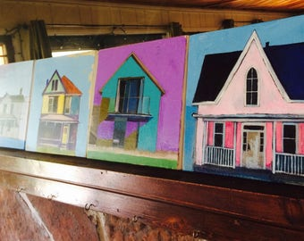 Three original paintings of a house, you choose,original paintning of a house, home, architectural painting, acrylic painting,
