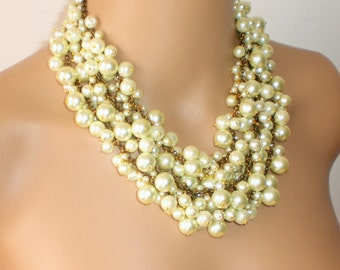 Pearl Bib Necklace, Bridal Bib Necklace, Ivory and Brass Pearls Statement Necklace, Pearl Bib Necklace,