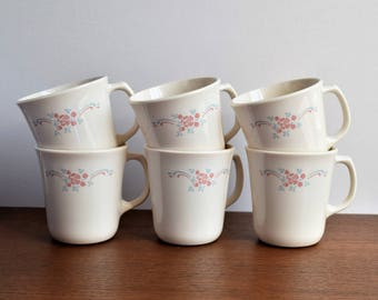 Set of 6 Corning English Breakfast Tea cups / 1970s Tea Cup Set/ Made in the USA