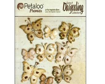 Set of 9 stickers butterflies beige Petaloo scrapbooking embellishment *.