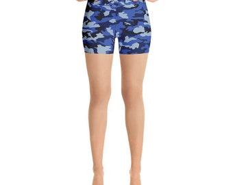Blue Camouflage Yoga Shorts