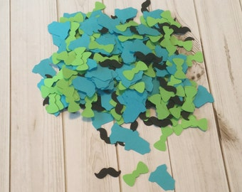Black Mustache, Turquoise Blue Onesie, Lime Green Bowtie Confetti for Little Man Theme Baby Shower Decorations