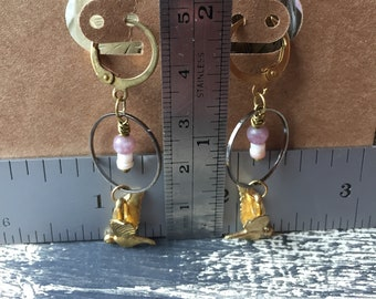free falling  -swallows with lepidolite shell and brass earrings dangle drop summer bird swallow