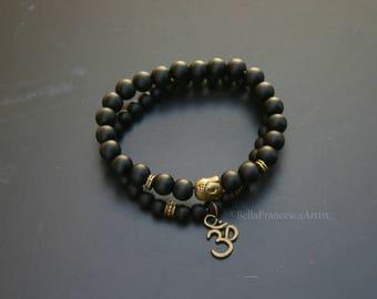 Stone Beads,Black Onyx,Set of 2,Gift For Her,Gift For Him,6mm,8mm,Buddhist Bead,Buddha Om Charm,Bracelet,Zen,Rosary,Yoga Bracelet