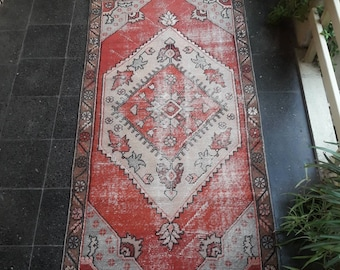 Pink Rug,Oushak Rug 3.4x6.8ft FREE SHIPPING Turkish Oushak Rug, Vintage Oushak Rug, Turkish Rug,Pink Rug,Muted Color Rug,Low pile Rug