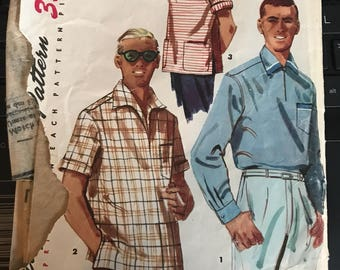Vintage 50s Simplicity 1432 Men's Shirt Pattern