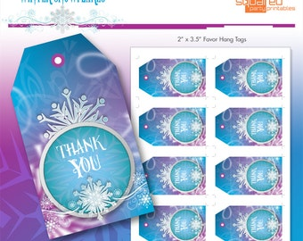 Frozen Thank You Tags - Ice Princess Winter Snowflakes Printable Favor Hang Tags - DIY - Do-It-Yourself Printables - Instant Download