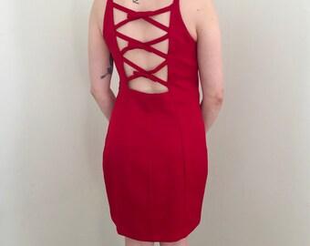 90s Red Bow Ladder Back Mini Dress