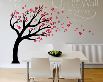 Cherry Blossom Tree vinyl decal /  blowing in the wind, wall art mural / nursery baby room / Foyer decor / Family tree