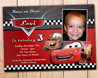 Disney cars bday etsy print yourself invite disney cars lightning mcqueen mater birthday party invitation solutioingenieria Image collections