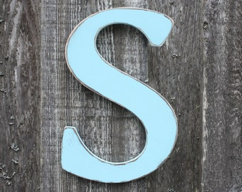 "12"" Wall Decoration Wood Letter Shabby Chic Nursery Decor - Painted Wooden Letter - Aqua Letter S"