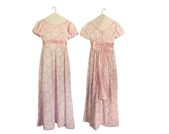 Vintage Pink Dress 60s Dress Pink Maxi Dress Semi Formal Dress Bow Dress Empire Waist Dress Full Length Dress 60s Maxi Dress 1960s Dress