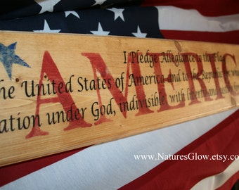 Pledge of Allegiance, Patriotic Decor, Americana Decor, 4th of July, America Signs, America, Pledge, One Nation Under God, Primitive USA