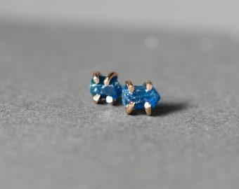 Sapphire Blue Tourmaline & Rose Gold Earrings. Uncut Gemstone Earrings, Rough Deep Blue Crystal Point Studs, Minimalist Tiny Post Jewelry