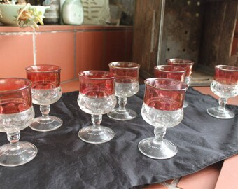 Tiffin Kings Crown Thumbprint Cranberry Ruby Small Goblets Vintage 1940's Set of 8 Bar Ware Beverage Ware  Serving Dining Collectible