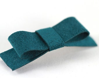 Suede Barrette, Suede Hair Clip, Teal Barrette, Teal Hairclip, Girl Hair Clip, Girl Hair Accessory, Toddler Hair Bow, Simple Hair Bow Mini