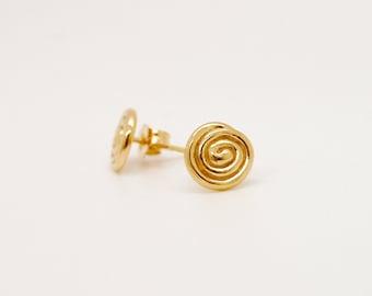 Circle Stud Earrings, 14K Gold Round Earrings, Solid Gold Studs, Round Gold Studs, Solid Gold Earrings