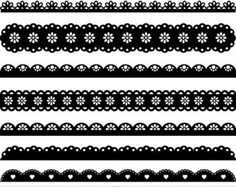 Scalloped Borders Clipart Lace Borders Clip Art Ribbons Punch Borders Scrapbooking Invitations Text Dividers Card Making Silhouette Clipart