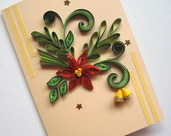 Christmas Card - Quilled Christmas Flower Poinsettia - Handmade Quilling Christmas Bells