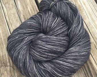 Sparkle Toes Sock Yarn Ghost Ship charcoal gray Hand Dyed sockyarn 438 yards silver black superwash merino nylon stellina fingering