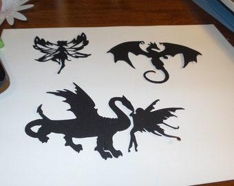 Dragon and Fairies Silhouettes,dragon die cuts,dragon silhouettes,fairy die cuts,fairy silhouettes