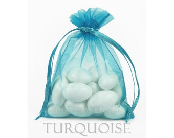 30 Turquoise  Blue Organza Bags, 6 x 9 Inch Sheer Fabric Favor and Gift Bags