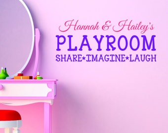 Girls Playroom Share Imagine Laugh with Name Wall Decal Sticker, Playroom Decor, Personalized Playroom Art
