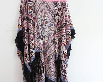 Long Kimono with Boho Print with Tassels
